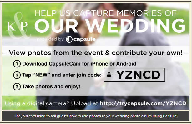 Sample card from Capsule that you would give to your guests...I would probably recommend including it in the program.