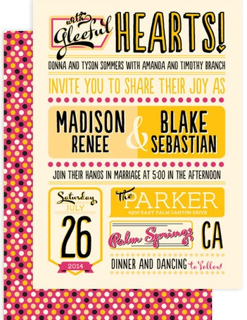 pink and yellow invites
