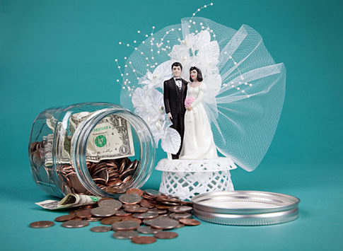 Money Jar.  Bride and groom.  Wedding topper.  Original Filename: 85824295.jpg